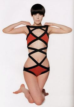 Rudi Gernreich's groudbreaking monokini, modeled by Peggy Moffitt, mid-1960's.
