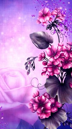 Pink flowers with purple