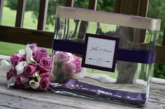 Large Glass Vase to collect Wedding Cards- Simple and Elegant