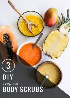 3 Tropical DIY Body Scrubs with Pineapple, Mango and Papaya | http://hellonatural.co/tropical-diy-body-scrubs/