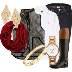 Blue jeans, white button up, black and brown boots, a splash of red with the scarf an you have a great fall outfit