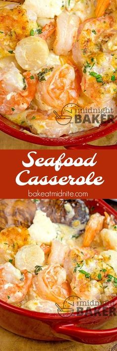 If you love shrimp and scallops, you'll love this seafood casserole. Easy to make! #seafood #comfortfood #Lent #shrimp #casseroles #easyrecipes