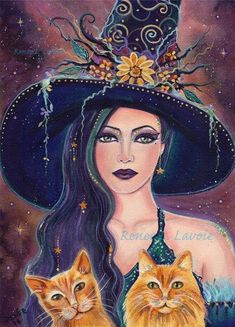 Jinx and Jazz orange tabby kitties with Halloween witch print fantasy portrait by Renee L. Witch Painting, Witch Drawing, Halloween Painting, Witch Art, Fantasy Kunst, Fantasy Art, Fete Halloween, Halloween Table, Halloween Signs