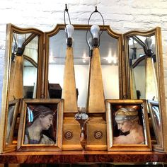 Frame alert! Tri fold! Mirror! And the pair of obelisk lamps and the pair of eglomise portraits! #brimfield