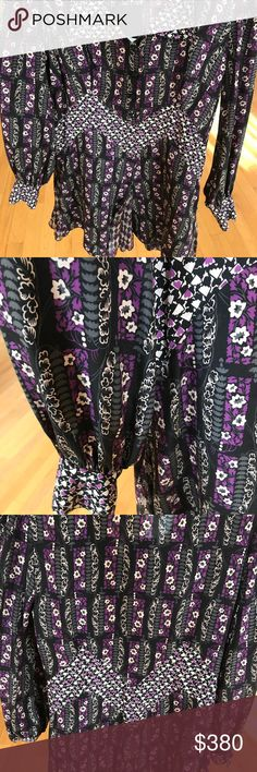 NWT Anna Sui Rare Silk Pattern Dress Flowy floral dress made from silk. Collared neck, black flower buttons, and tighter at the wrists Anna Sui Dresses