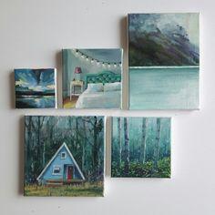 Items similar to original acrylic painting, landscape painting, lake painting, mountain paint. Easy Landscape Paintings, Small Canvas Paintings, Small Canvas Art, Mini Canvas Art, Small Paintings, Small Art, Lake Painting, Diy Painting, Painting & Drawing
