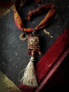 Gypsy necklace with decadent textiles, embroidered silk ribbon and beads