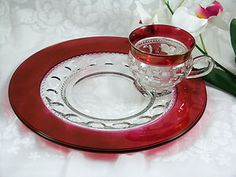 Vintage Tiffin Kings Crown Thumbprint Ruby Red Snack Plate & Cup Set  (Got 4)