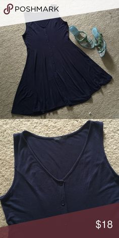 Summer fun dress in navy blue! This cotton navy blue button down sun dress is a must have for those lazy hazy days of summer.  Add this to your summer wardrobe for a light and airy mini-dress that is as fun as it is figure flattering.  But, although this dress is marked large, it is best looking on size 6/8.  This dress has never been worn so it is really like brand new! Saprano  Dresses Mini