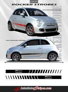 2007-2015 Fiat 500 Rocker Strobes Lower Door Rocker Accent 3M Stripes Vinyl Graphic Kit
