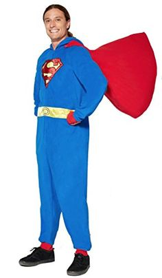 Superman Dropseat OnePiece Pajamas Hooded  Caped Cosplay Costume Medium ** For more information, visit image link-affiliate link.