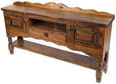 Add some rustic charm to your kitchen, dining room, or bedroom with this old wood buffet table with turned legs and aged iron hardware. Painting Wooden Furniture, Diy Pallet Furniture, Ikea Furniture, Unique Furniture, Rustic Furniture, Outdoor Furniture, Furniture Ideas, Classic Home Furniture, Mexican Furniture