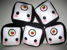 """Title: MAKI ROLL SUSHI cube plush.   Makizushi cube surrounded on sides with black """"nori"""".   Pattern placement may differ slightly, due to handcrafted nature of each cube plushie.  Features: - approxi"""