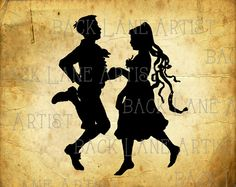 Vintage Boy And Girl Dancing Silhouette Clipart by BackLaneArtist