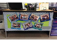 Teacher Desk Decoration: this is a cute way to display your past classes! Students love looking at the pictures, and they add color to a drab teacher desk! or the birthdays so they wont take up wall space 5th Grade Classroom, Classroom Layout, Classroom Design, School Classroom, Future Classroom, Teacher Desk Decorations, Classroom Decor Themes, Class Decoration, Classroom Ideas
