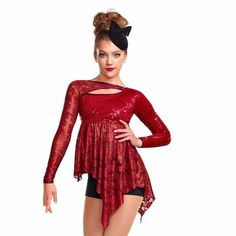 Dance Costume S-XL Adult Red Lace Contemporary Jazz Lyrical Solo Competition