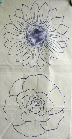 VINTAGE EMBROIDERY TRANSFER - 2 LARGE FLOWER HEADS -ROSE & SUNFLOWER