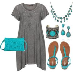 awesome Plus Size - Turquoise & Gray by http://www.globalfashionista.xyz/plus-size-fashion/plus-size-turquoise-gray/