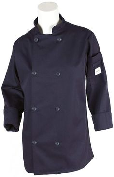 Mercer Culinary Millennia Women's Cook Jacket with Traditional Button, XX-Large, Navy Blue, As Shown Construction Design, Blue Check, Cotton Twill Fabric, Vest Jacket, Chef Jackets, Raincoat, My Style, Traditional Fashion, Sleeves