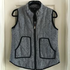 BLACK/WHITE HERRINGBONE VEST This is a gorgeous zip up vest with black trim throughout. Zipper is silver. Two front pockets. Shirt tail hems in front and back. Will fit a 12-14. Brand new. Choies Jackets & Coats Vests