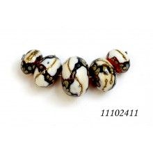 grace lampwork beads five graduated dark brown wivory silver beads
