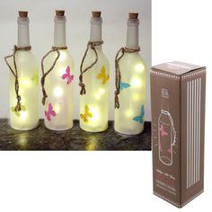 Decorative LED Light Bottle - Frosted Butterfly