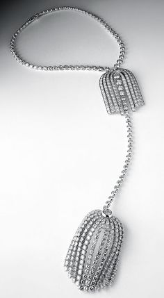 Chanel Fontaine elongated diamond necklace.