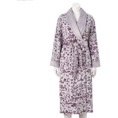 Women's Croft & Barrow® Plush Robe ($32) ❤ liked on Polyvore featuring intimates, robes, med purple, bath robes, purple dressing gown, dressing gown, purple bathrobe and purple robe