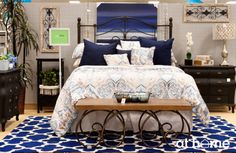 Blues are soothing, calming and one of our top picks for #bedroom #decor this spring season. From the stylish patterned rug to the ocean-themed painting, what better way to say sweet dreams than in a sea of blue.