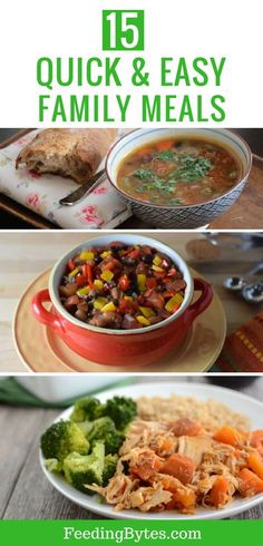 Quick and Easy Family Style Dinner and Lunch ideas: Here are 15 quick, easy, and healthy family meal ideas. Most of these meals can be prepared in under 30 minutes. Add these lunch and dinner recipes to your meal plan rotation. Healthy Family Dinners, Healthy Low Carb Recipes, Healthy Eating For Kids, Healthy Meals For Kids, Lunches And Dinners, Healthy Lunches, Weeknight Dinners, Quick Dinner Recipes, Quick Easy Meals