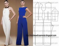 Free jumpsuit pattern in a size 38 /Moldes Moda por Medida Diy Clothing, Clothing Patterns, Dress Patterns, Sewing Patterns, Fashion Sewing, Diy Fashion, Ideias Fashion, Fashion Tips, Sewing Pants