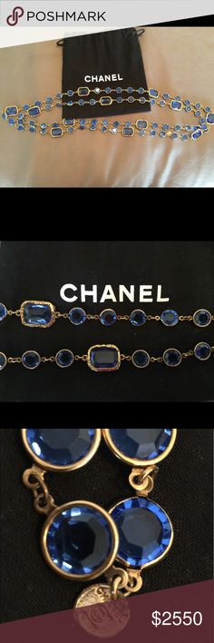 CHANEL Blue Crystal Chicklet Sautoir Necklace.MINT Chanel Collector's Haute Couture French Runway Necklace.  Made in France, Vintage 1981  These Chanel necklaces were limited in production and have become collector's pieces.   All of the crystals are in very good vintage condition with no chips or cracks.  All of the gold plating is in excellent vintage condition.  The 18k to 24k gold plating and the blue crystals have maintained the original luster. CHANEL Jewelry Necklaces