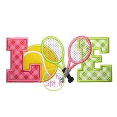 Etsy の Tennis Love Applique Design For Machine by TheItch2Stitch