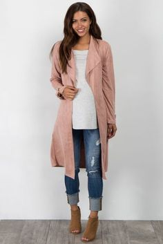 Pink Suede Draped Coat