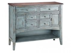 The **Stein World Hartford buffet server is a true cottage-inspired showpiece in any room. Use this buffet server in the dining room, kitchen or living Wood Drawers, Wood Shelves, Joss And Main, Buffet Server, Drawer Dividers, Estilo Retro, Blue Wood, Farmhouse Style Kitchen, Farmhouse Decor