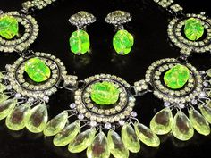 Lawrence Vrba Yellow Lemon Drop Crystal Vaseline Glass Necklace Earring Set | eBay