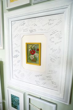 Guest book idea for anniversary party, guests sign or write a little message on the matte around a special photo.