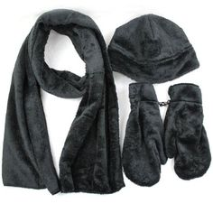 Fleece Scarf Glove Skull Set, Black, Gifts Ideas