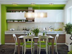 Diseño de Cocina-Comedor con un hermoso color Verde