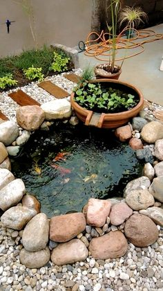 40 Awesome Garden Waterfall Ideas - Many people today spend more and more time in their homes and realise the importance of making their surroundings beautiful and peaceful. In this aspe. Small Backyard Ponds, Outdoor Ponds, Small Ponds, Small Fish Pond, Backyard Waterfalls, Koi Fish Pond, Garden Pond Design, Garden Yard Ideas, Landscape Design