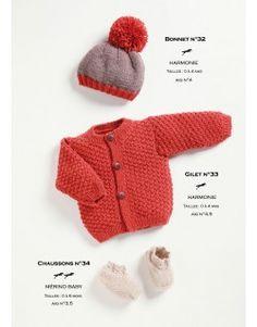 Modèle bonnet, gilet et chaussons CB21-32-34 - Patron tricot gratuit
