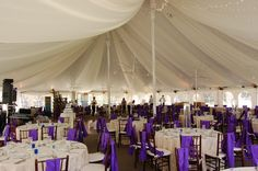 Tented Wedding reception with fabric swags and twinkle lighting