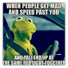 When people get mad and speed past you and yall end up at the same read light together funny sayings funny memes funny pic really funny memes kermit meme best funny memes Funny Shit, Haha Funny, Funny Cute, Funny Memes, Funny Stuff, Funny Sayings, Random Sayings, Stuff Stuff, Hilarious Quotes