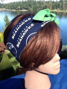 Go Seahawks  12th man -Rockabilly Hair Scarf Bandana Dolly Bow Tie Up Seattle Seahawks Fans  #SEAHAWKS