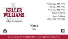 A Red Store - Keller Williams White and Red Business Card Templates