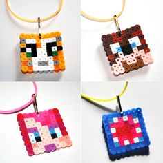 Minecraft Stampylongnose Inspired Necklaces (You pick the character: Stampy Cat, L for Lee, iBallistic Squid, or Amy Lee) perler beads by HenrysMarketplace