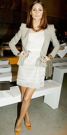 Who made Olivia Palermo's orange pumps, tan blazer, white dress and gold necklace that she wore to the Giambattista Valli Fashion Show in Paris fashion week on October 4, 2010? Dress – Giambattista Valli  Necklace – Mawi  Jacket – Willow  Shoes – Kurt Geiger