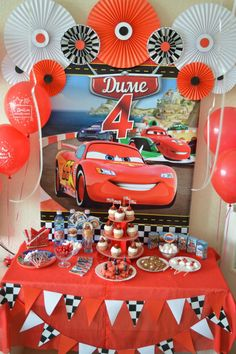 boy birthday parties Trendy Birthday Party Decoracion For Boys Disney Cars Pixar Cars Birthday, Cars Birthday Parties, Birthday Party Decorations, Boy Birthday, Disney Cars Party, Auto Party, Festa Hot Wheels, Sixteenth Birthday, Car Themes