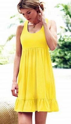 Yellow summer beach dress