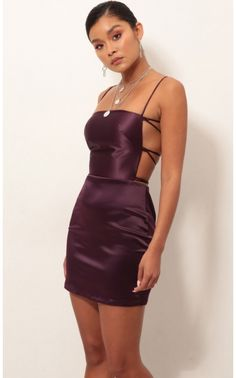 Lulu Satin Lace-up Dress In Purple Style: This stunning satin dress is a real show-stopper. Features a classy square neckline and lace-back detailing. Made in our luxurious satin fabric in a shade of plum purple. Pairs perfectly with your favorite Hoco Dresses, Tight Dresses, Dance Dresses, Satin Dresses, Homecoming Dresses, Pretty Dresses, Lace Dress, Satin Short Dress, Purple Bodycon Dresses